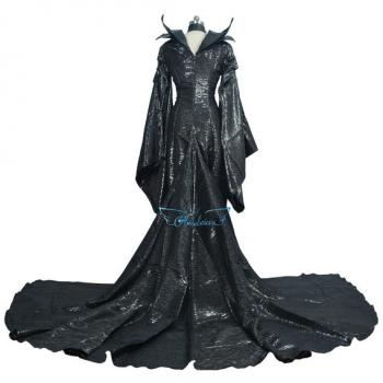 Angelaicos Women's Halloween Cosplay Show Long Black Dress Costume