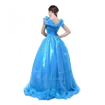 Angelaicos Women's Long Blue Layered Halloween Party Cinderella Dress for Adult
