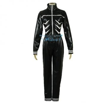 Angelaicos Men's Faux Leather Halloween Cosplay Party Costume Suits Long Black