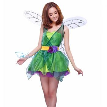 Angelaicos Women's Halloween Dress Princess Costume Mini Skirts Short Green Adult