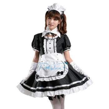 Angelaicos Womens Lolita Maid Costume Dress Suits Stocking Petticoat