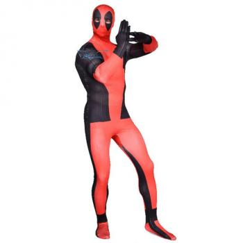 Angelaicos Men's Lycra Spandex Zentai Black Red Costume Bodysuit
