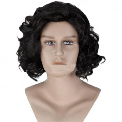 Angelaicos Men's Black Curly Fluffy Costume Cosplay Wigs