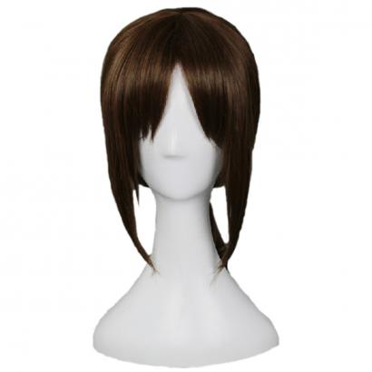 Angelaicos Women's Short Ponytail Dark Brown Halloween Cosplay Party Full Wig