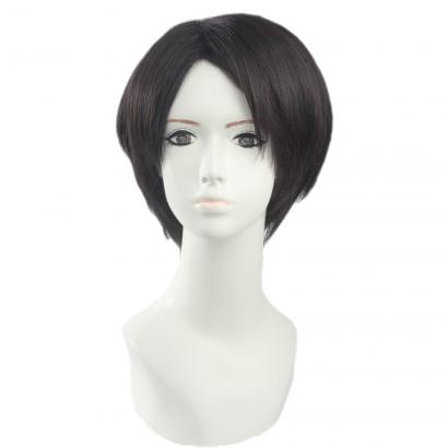 Angelaicos Men's Halloween Cosplay Layered Short Black Wig