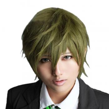 Angelaicos Men's Short Dark Green Boy Anime Costume Party Cosplay Full Wig