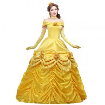 Angelaicos Women's Yellow Layered Princess Costume Dress Gloves Ball Gown